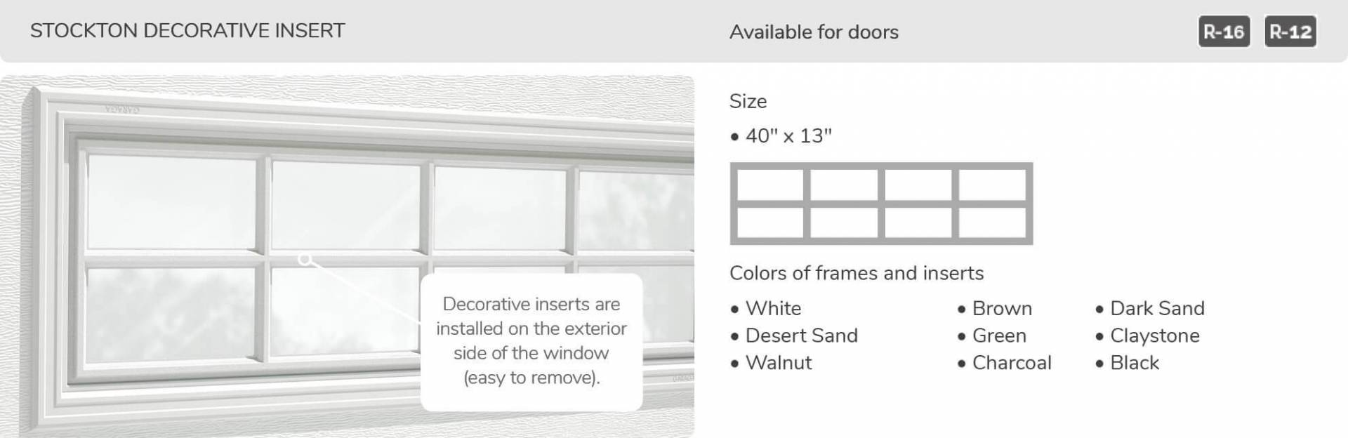Stockton Decorative Insert, 40' x 13', available for doors R-16 and R-12