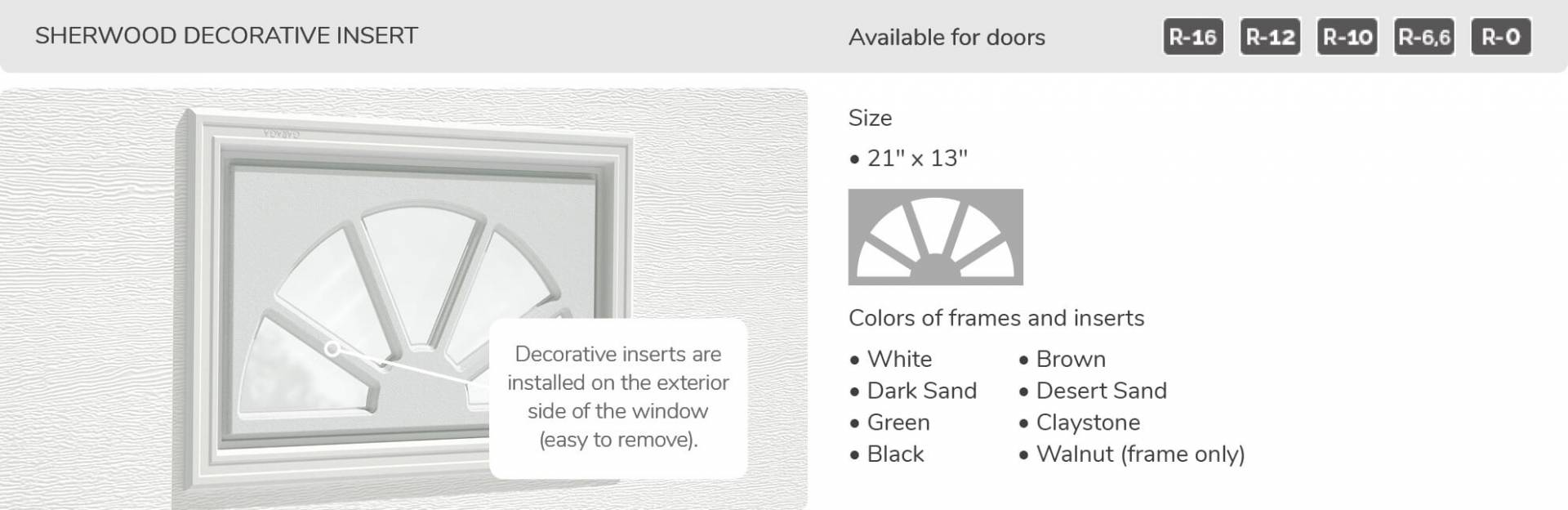 Sherwood Decorative Inserts, 21' x 13', available for doors R-16, R-12, R-10, R-6,6 and R-0